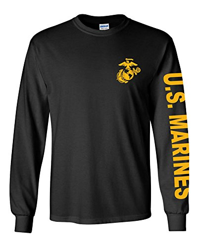 U.S. Marine Corps Long Sleeve Tshirt. Black or Sports Grey (Large, Black)