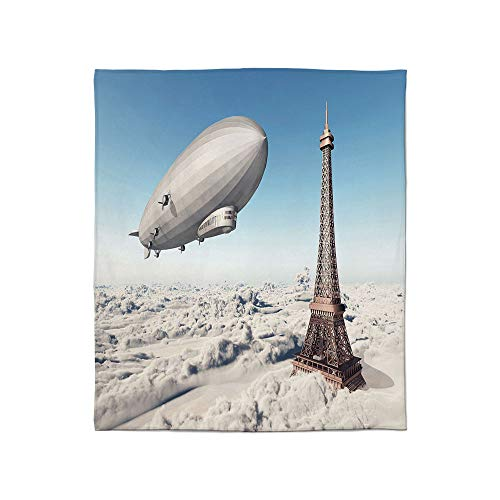 (TecBillion Super Soft Blanket,Paris Decor,for Camping Bed Couch,Size Throw/Twin/Queen/King,Zeppelin and Eiffel Tower Over Clouds Sky)