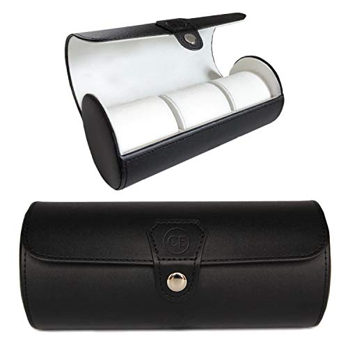 CASE ELEGANCE Vegan Leather Travel Watch Case Roll Organizer Classic Black