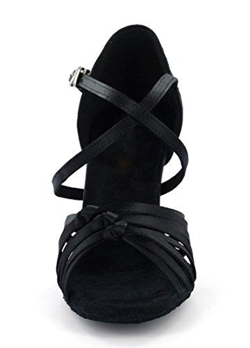 Tda Womens Cinturino Alla Caviglia Raso Raso Salsa Tango Ballroom Latino Scarpe Da Ballo Danza Moderna Nero