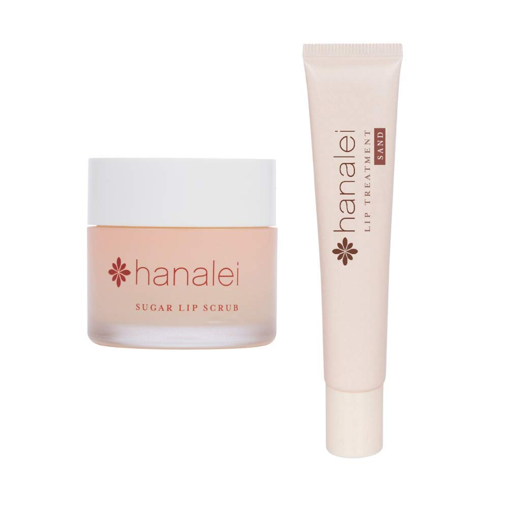 Hanalei Sugar Lip Scrub and Lip Treatment (Sand) Bundle, Made with Raw Cane Sugar and Real Hawaiian Kukui Nut Oil (Cruelty free, Paraben free)