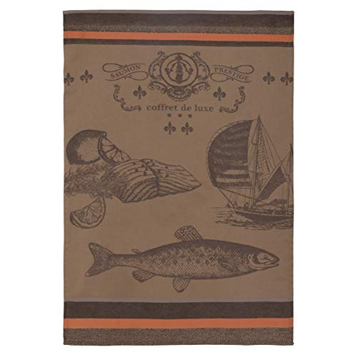 COUCKE French Cotton Jacquard Towel, Saumon (Salmon) Prestige Marron, 20-Inches by 30-Inches, Brown