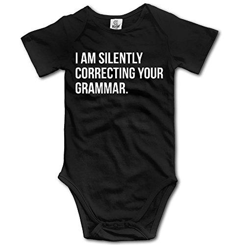 SmallHan I Am Silently Correcting Your Grammar Unisex Fashion Boys & Girls Romper Baby Boy Playsuit Newborn Black