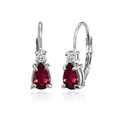 Sterling Silver Created Ruby and White Topaz Tiny Teardrop Huggie Leverback Earrings for Girls Kids ()