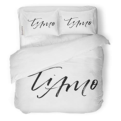 Semtomn Decor Duvet Cover Set Twin Size I Love You in Italian Phrase for Valentine Day 3 Piece Brushed Microfiber Fabric Print Bedding Set -