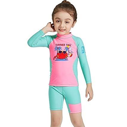 Kid s Surfing Traje térmico UV protección de Dos Piezas Manga Larga Zip  Rash Guard para niñas 6f8aa26064708