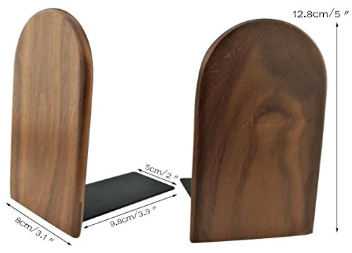 Winterworm Simple Nature Japanese Style Black Walnut Wood Bookends Book Ends For Home Office Library School Study Decoration Gift (Round,Small) by Winterworm (Image #3)