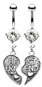 Body Accentz® Belly Button Ring Navel Best Friends Broken Heart Body Jewelry Dangle 14 Gauge HO285