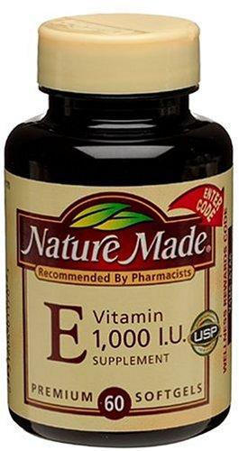 Nature Made Vitamin E 1000IU, 60 Softgels (Pack of 2)