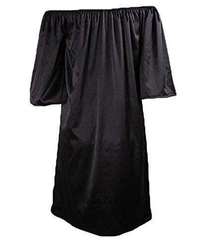 Sleeve Womens Black Satin Half Dress Shoulder Off Sleepwear Jaycargogo 8FIwdtqF