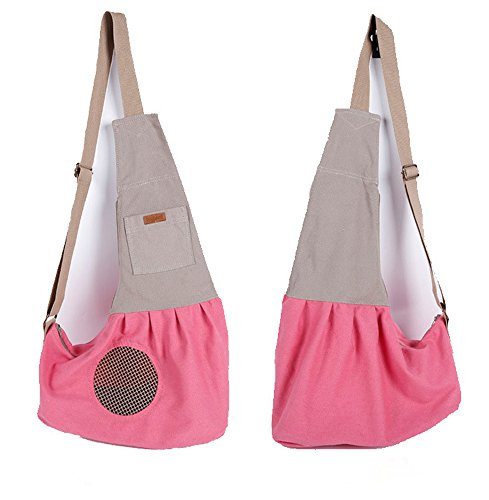 LILYS PET Pet Dog Cat Puppy Sling Carrier,Adjustable Pet Shoulder Bag Sling Carrier with Breathable Mesh Design (Pink)