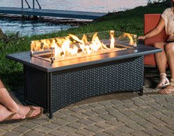 Outdoor Great Room MG-1242-BLK-K Montego Coffee Table Black Wicker Base by The Outdoor GreatRoom Company