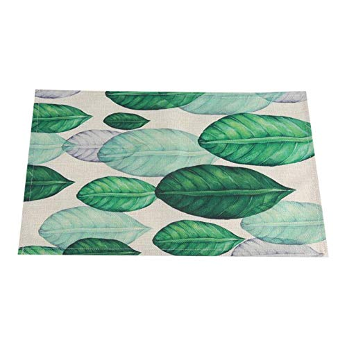 Table Mat - 44x29 Cm Green Leaves Pattern Cotton Linen Western Pad Placemat Insulation Dining Table Mat Bowls - Silicone Turquoise Runner Lace Avocado Mate Folding Sticker Poker Organizer ()