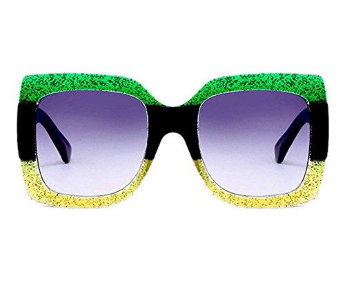 UV400 frais de mode de lunettes de objectif lunettes de place Trekking de Hellomiko gradient Vert et protecteur classique soleil vintage Jaune de 4xXEg6