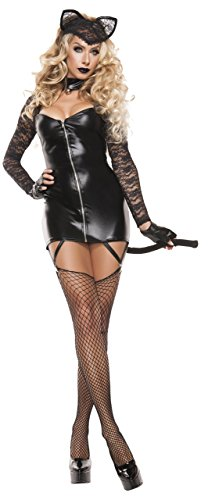 (Starline Women's Sexy Feline Bandit 3 Piece Costume Dress Set, Black,)