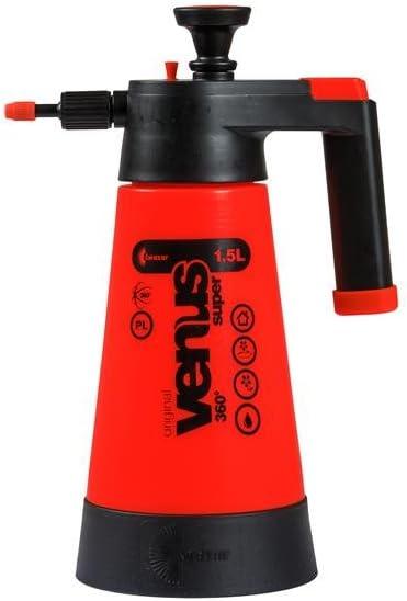 Kwazar 20010003 Rociador con bomba Venus Super 360 grados 1.5 L para el jardín, pesticidas, pesticidas, resistente a químicos, rojo, 12.5 x 12.5 x 33 cm