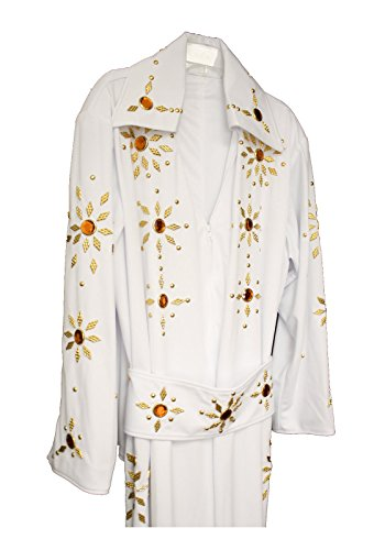 Men's Elvis Presley Deluxe Jumpsuit Costume with Cape (XL, White (Orange Stones))
