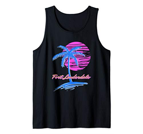 Fort Lauderdale Beach Vaporwave Outrun Retro 80s Synthwave Tank Top]()