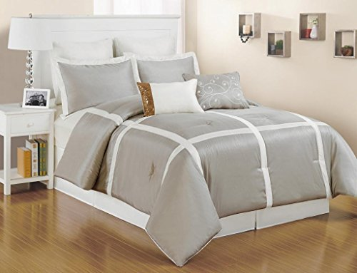 8 pc. Faux Silk, Light Metallic Taupe and White Striped Queen Size Comforter Set - Metallic Queen Size Bed