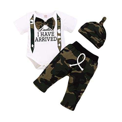 Baby Peuter Jongen Mode Outfit Kleding Pak Engels Print Vlinderdas Korte Mouw Romper Camouflage Broek Hoed Pak Voor 0…
