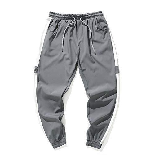 KLGDA Mens Stitching Striped Hip Hop Sports Pants Nine Pants Casual Sweatpants ()