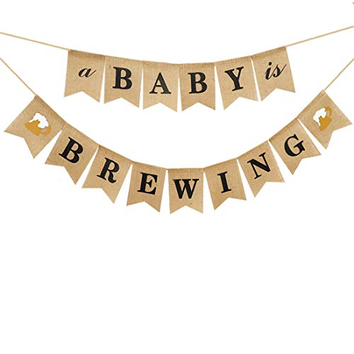 A Baby is Brewing Baby Shower Decorations  Banner Gender Reveal Party Decoration Supplies Diaper Party Decor Baby Brewing Sign with Beer Mug & Baby Bottle Design Pre-Strung
