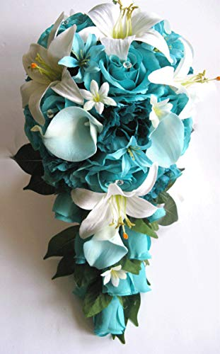 17 Piece Package Wedding Bouquet Bridal Bouquets Silk Flower Cascade Turquoise Aqua Blue Teal Calla Lily Centerpiece Set RosesandDreams