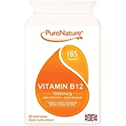 Vitamin B12 Double Strength 185 Slow Release Easy to Swallow 1000mcg Veggie Capsules |100% Quality Assured Money Back Guarantee| Contributes to Normal Red Blood Cell Formation & Reduction of Tiredness and Fatigue MADE IN UK & FREE UK DELIVERY