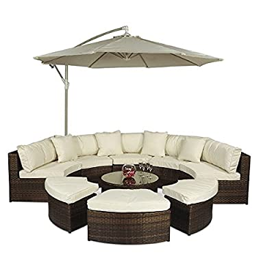 Monaco Rattan Half Moon Sectional Outdoor Sofa with Parasol