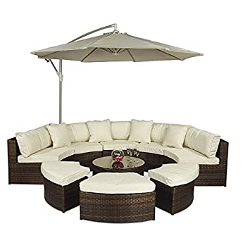 Monaco Large Rattan Sofa Set (Semi Circle) With Small Round Glass Table And  + Part 76