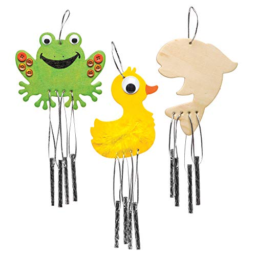 (Baker Ross Pond Life Wooden Windchimes (Pack of 4) for Kids to Decorate, Personalize and Display)
