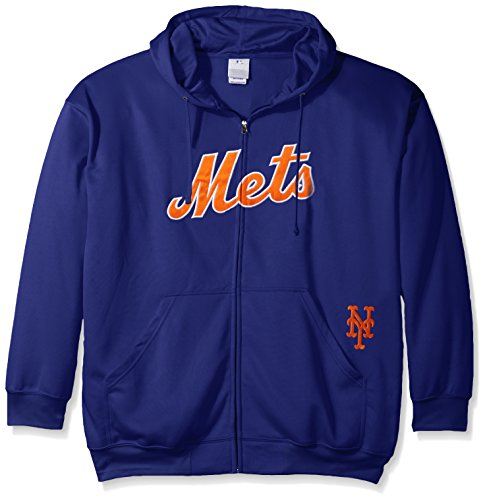 MLB New York Mets Men's Full Zip Poly Fleece with Wordmark Chest with Logo near Pocket, 3X/Tall, Royal (Mets Sweatshirt Mens)