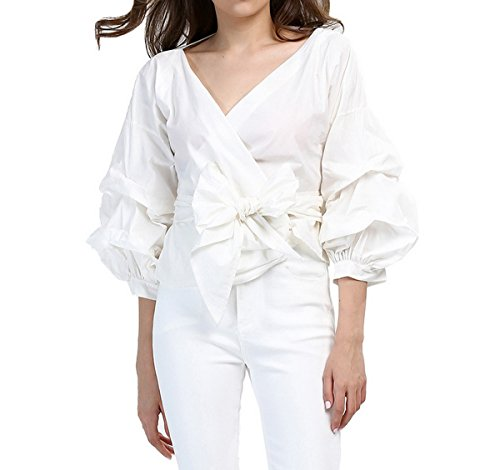 AOMEI White Blouse for Women Casual Spring Summer with Waist Belt Puff Sleeve Size XL