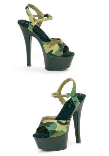 6 Inch Hak Sandaal Damesmaat Schoen Met Camouflage Stof (groen; 6)