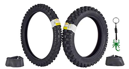 Pirelli Scorpion MX32 Extra X Dirt Bike 80/100-21 Front 110/100-18 Rear Motorcycle Tires Set w Tubes & Authentic Pirelli Scorpion Key Chain (Bike Off Road Tires)