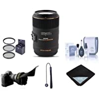 Sigma 105mm f/2.8 EX DG OS HSM Macro Lens for Sigma DSLR Cameras - Bundle With 62mm Filter Kit, Flex Lens Shade, Cleaning Kit, Lens Wrap (19x19), Capleash II