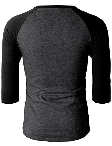 H2H Hombres Casual Slim Fit Raglan Béisbol 3/4 Manga Henley Camisetas Premium CHARCOALBLACK EE. UU. M /Asia L (CMTTS0174)