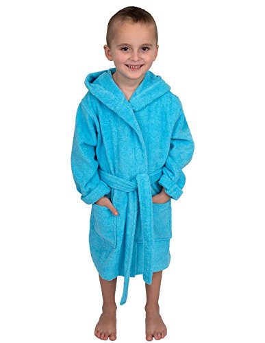 TowelSelections Big Boys' Robe, Kids Hooded Cotton Terry Bathrobe Cover-up Size 14 River Blue Cotton Lightweight Cover Up
