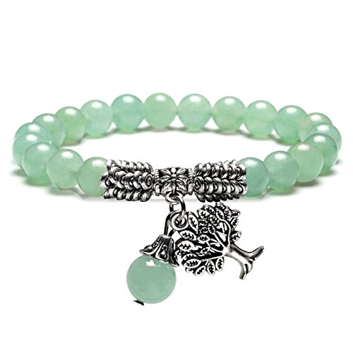 Jovivi 8MM Green Aventurine Natural Gemstone Healing Crystal Tree of Life Lucky Charm Stretch -
