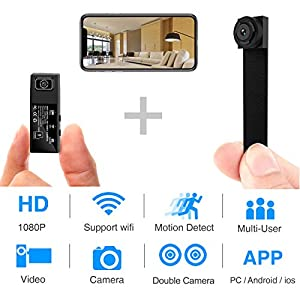 Hidden Spy Camera,1080P WiFi Mini Camera Portable Wireless Security Cameras Video Recorder IP Cameras Nanny Cam with DIY Interchangable Lens/Motion Detection for Indoor Outdoor Monitoring