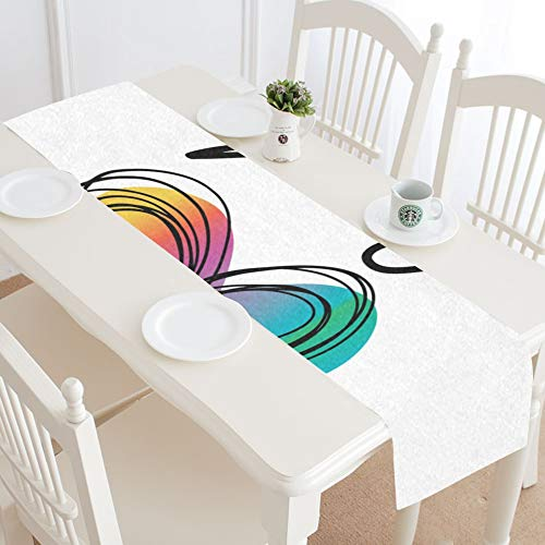 Round Kitchen Table Runner Equality Concept Word Rainbow Colourful Heart Coffee Table Runner Centerpiece Table Runner 16x72 Inch for Dinner Parties Events Decor (Centerpiece Size For 72 Inch Round Table)