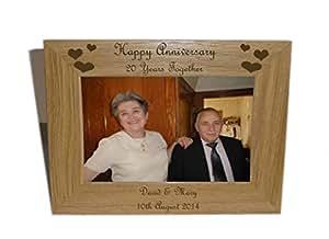 Feliz aniversario 20yrs marco de madera 8x 6-personalise este frame-free grabado