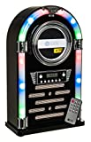 Fineway Bluetooth Jukebox Illuminating LED LCD Station With CD Player FM Radio and Remote Control – Floor standing – 2 RMS Speakers – Nostalgic -Colour Changing Disco Lights – Gloss Black