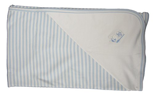 Kissy Kissy Baby-Boys Infant Second Mate Stripe Receiving Blanket-White and Blue-One Size