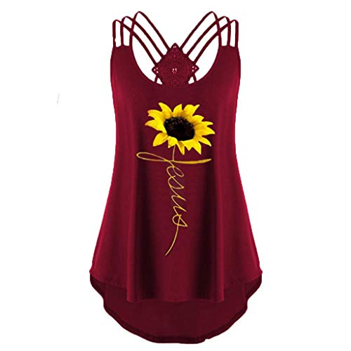 WUAI-Women Plus Size Sunflower Printed Vest Top Bandages Sleeveless Strappy Tank Tops(Wine,XX-Large) -