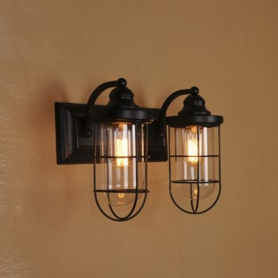 ding Double Light Wall Sconce in Matte Black with Clear Glass