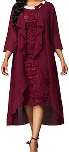 ddc0d757ad2 JINGDRESS Womens Lace Mother of The Bride Dresses Tea Length with Front  Open Jacket Two Piece
