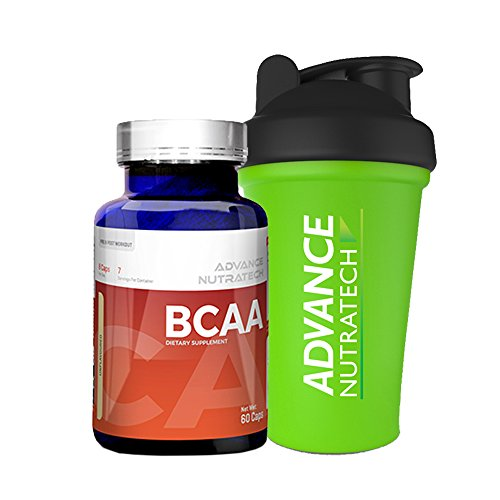 BCAA 60 capsules Pre-workout Amino Source Unflavoured with Shaker by ADVANCE NUTRATECH