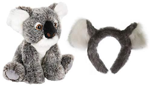 (Wildlife Tree Stuffed Plush Koala Ears Headband with Baby Plush Toy Koala Joey Set Bundle for Pretend Play Animals)