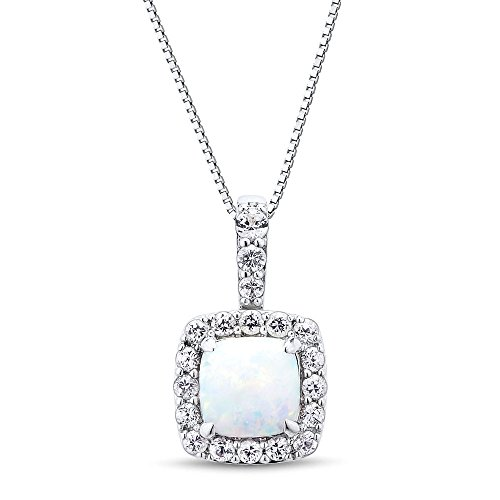Lab Created Opal Necklace Cushion Shape in Rhodium Plated Sterling Silver